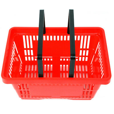 2 Handle Red Plastic Shopping Basket Retail Supermarket Use Hand Carry 2