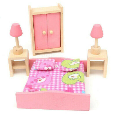 Kid Pink Wooden Furniture Dolls House Miniature 6 Room Set Doll For Gift DIY AR 4