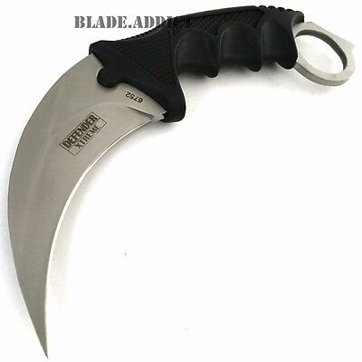 TACTICAL COMBAT KARAMBIT NECK KNIFE Survival Hunting BOWIE Fixed Blade w/ SHEATH 2