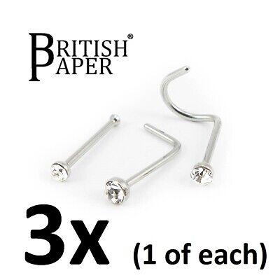 Uk Silver Nose Stud Straight I L Screw Shape Surgical Steel Pin Set Bar Piercing 2