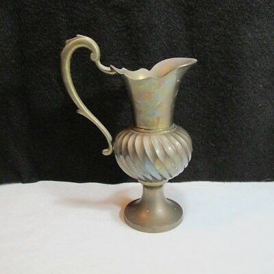 Beautiful Vintage Victorian Style Unique Brass Decorative Pitcher Great PATINA 5