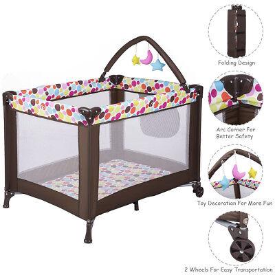 Playard Baby Crib Bassinet Travel Portable Bed Playpen Infant Toddler Foldable