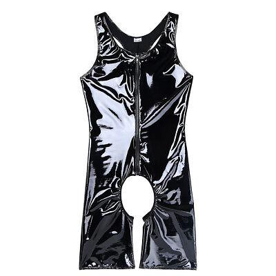 Männer Body Unterhemd Glänzend Offener Schritt Bodysuit mit Reißverschluss Sexy 5