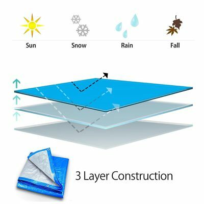Blue Silver Poly Tarp 5 Mil Water Resistant Outdoor Weather Reversible UV Cover 5