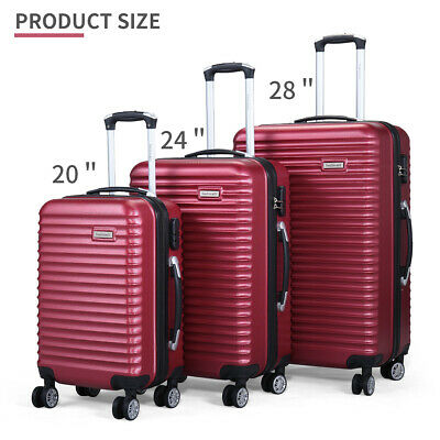 3 Piece Luggage Set Hardside ABS+PC Carry On Bag Travel Trolley Suitcase Spinner 2