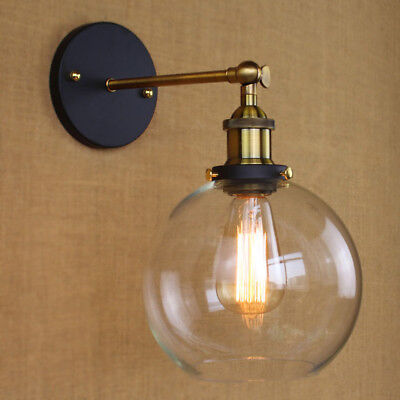 Modern Industrial Antique Brass Arm Wall Sconce Light  Glass Shade Wall Lamp 8