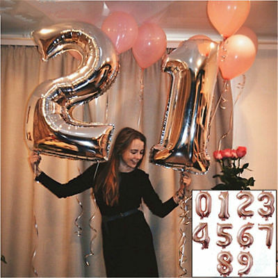 """32''/40"""" Number Shape Helium Foil Ballons Wedding Party Balloons Birthday Decors 2"""