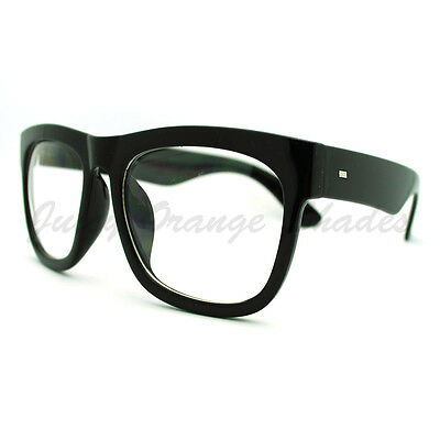 cce7de1b01a ... Black Oversized Square Glasses Thick Horn Rim Clear Lens Frame 2