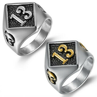 Vintage Mens Stainless Steel Punk Gothic Biker Band Rings Jewelry Size 8-15 4