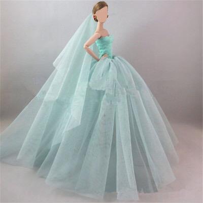 Handmade Royalty Princess Dress/Wedding Clothes/Gown + veil for Barbie Doll 3