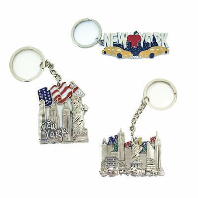 12 Pack New York City Silver Metal Keychains NYC  KeyRing Souvenir  Gift Set 6