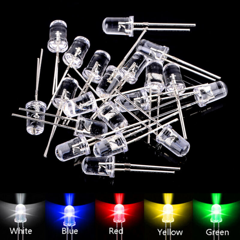 5 colors 100pcs 5mm Led Diodes Water Clear Red Green Blue Yellow White Mix Kits 2