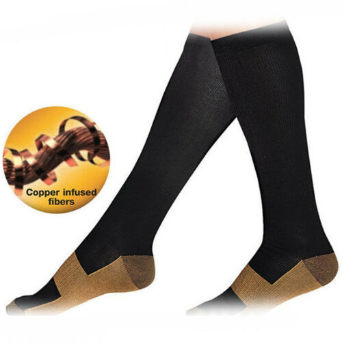 Copper-Infused Compression Socks Knee High Unisex Anti-Odor Nursing Sockings OZ 2