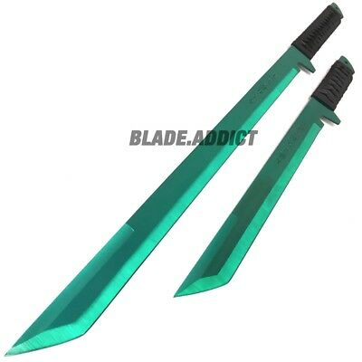 "27"" & 18"" NINJA DUAL SWORD Samurai Machete COMBAT FANTASY KNIFE Sheath GREEN SET 2"