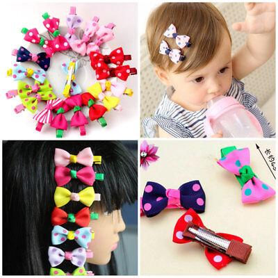 10Pcs Hot Lovely Toddler Girl Hair Clip Ribbon Bow Baby Kids Bowknot Headband