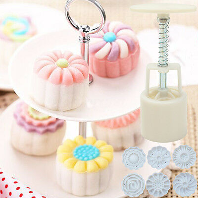 6 Style Stamps Round Flower Moon Cake Mold Mould White Set Mooncake Decor 50g 7