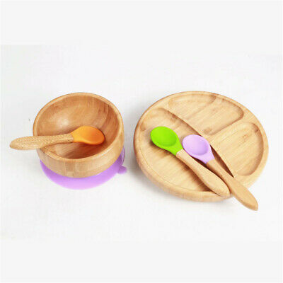 Baby Bamboo Suction Bowl and Matching Spoon Set, Stay Put Suction Feeding Bowl 2