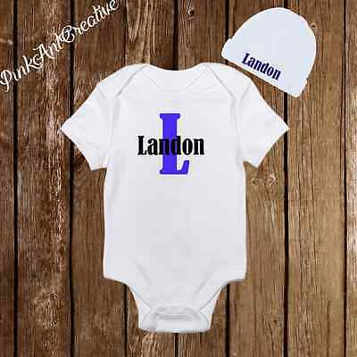2149e182b PERSONALIZED NAME CUTE Baby Boy Clothes Onesies Hat   Beanie ...