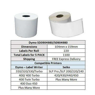 5 Rolls SD0904980 Compatible Dymo 4XL S0904980 Shipping Labels 104mm x 159mm