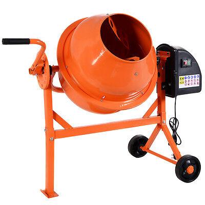 63L 220W Electric Concrete Cement Mixer Drum Portable Plaster Mortar 240V Wheels