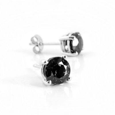 Black Diamond Stud Earrings Women Earrings and Mens Stud Earrings 14k White Gold 7