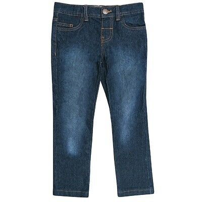 Boys Blue Black Wash Denim Contrasting Brown Stitching Cotton Skinny Jeans2-6yrs 2