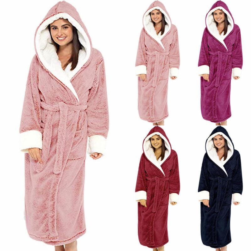 Women Dressing Gown Hoodie Nightwear Winter Warm Soft Hooded Fluffy Bath Robe 3