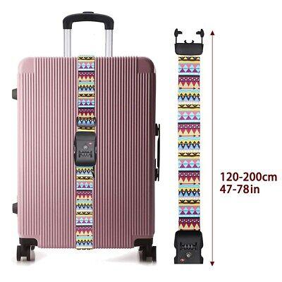 "Heavy Duty TSA Password Travel Luggage Suitcase Secure Coded Lock 80"" Belt Strap 5"