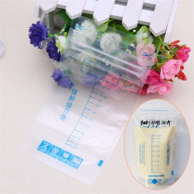 50Pcs 250ml Pre-sterilised Baby Breast Milk Storage Freezing Bags PouchBPA Free 2