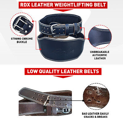 "RDX Weight Lifting 6"" Leather Belt Back Support Gym Strap Training Fitness Power"