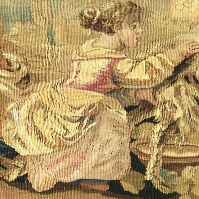 """RARE 55.5"""" Long Antique French Aubusson Tapestry Fragment, Sofa Panel, Figural 5"""