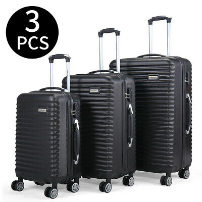 3 Piece Luggage Set Trolley Travel Suitcase Nested Spinner ABS+PC w/ Cover Black 2