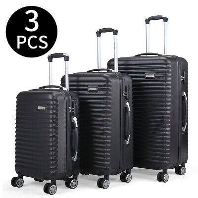 3PCS Luggage Set Carry On Trolley Suitcase Travel Spinner ABS+PC w/Cover Black 2