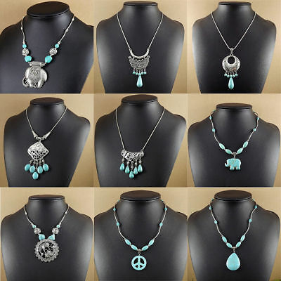 20 style Vintage Women's Tibetan Silver Turquoise Beads String Pendant Necklace 8
