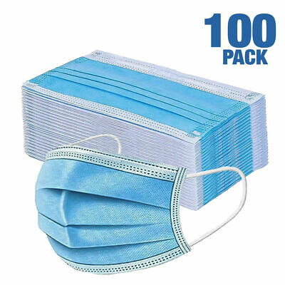 100 PCS Face Mask Medical Surgical Dental Disposable 3-Ply Earloop Mouth Cover 2