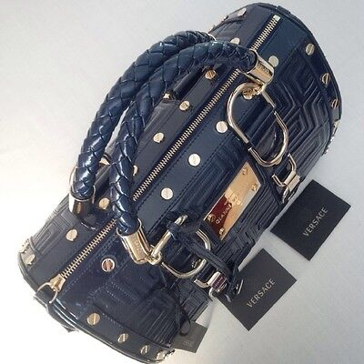 3ef3b51e7409 ... New Gianni Versace Couture Leather Greca Quilt Doctor Handbag Blue Made  In Italy 8