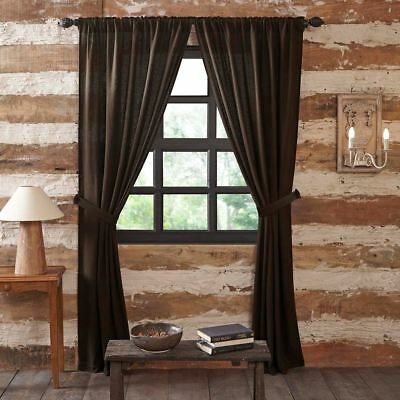 "84"" Long Burlap Chocolate Brown Cotton Rustic Country Window Curtains Tie Backs 2"
