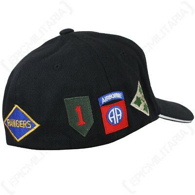 American Sun Peak Hat Military Army Soldier USA New Black D-Day Baseball Cap