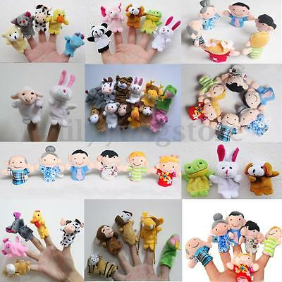 10/12X Family Finger Puppets Cloth Doll Baby Educational Hand Cartoon Animal Toy 2