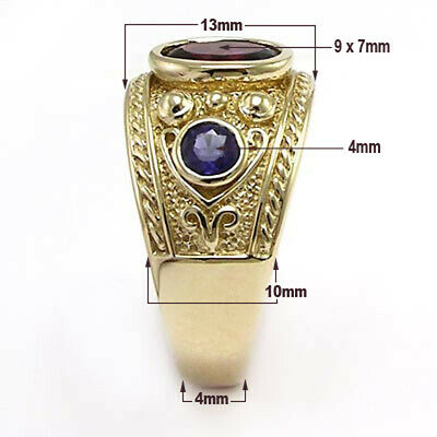 Byzantine Styled Ring 10k Solid Yellow Gold with Iolite and Garnet #R1506 4
