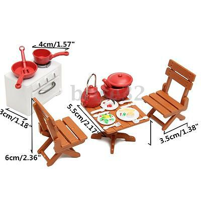 Plastic Dining Table Miniature Kitchen Doll House Furniture Toy Set Gifts 6