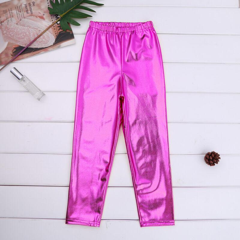 Shiny Metallic Kids Girls Skinny Pants Gymnastics Dance Crop Top Club Leggings 4