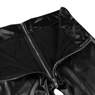 Herren Strumpfhose Wetlook Leggings schwarz Hosen Unterwäsche Pants mit Zipper 5