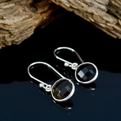 Brown 925 Sterling Silver genuine excellent Smoky Quartz jewelry Earring AU gift 3