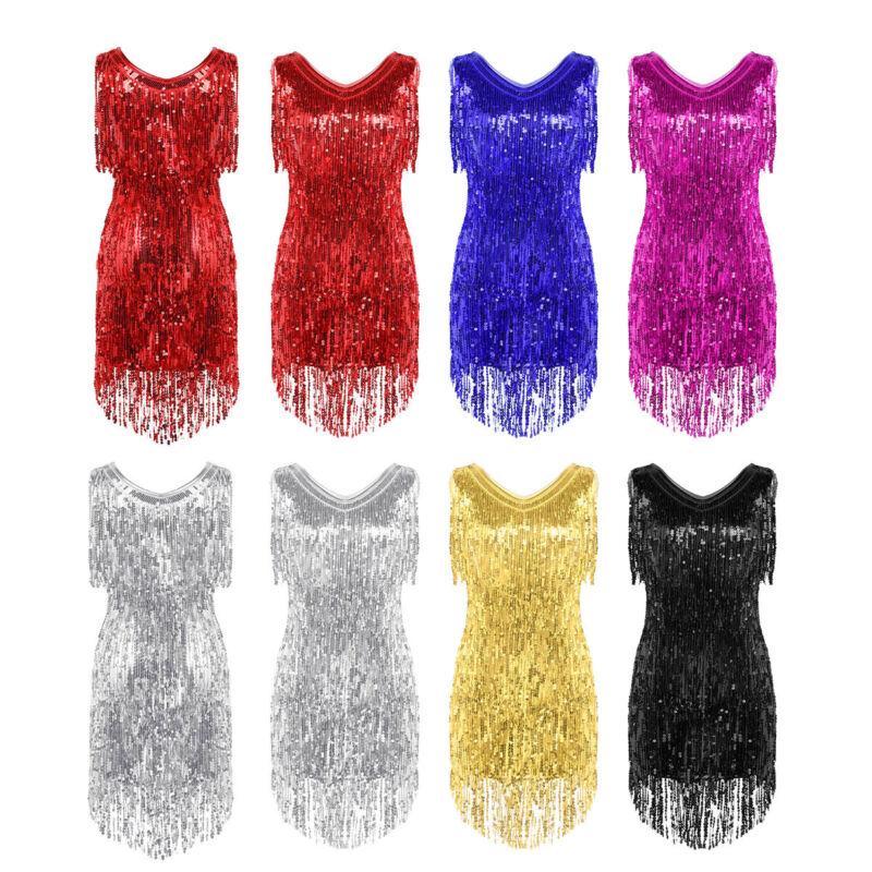 Damen Tanzkleid Glitzernd Pailletten Quasten Latein Kleid Samba Tango Partykleid 3