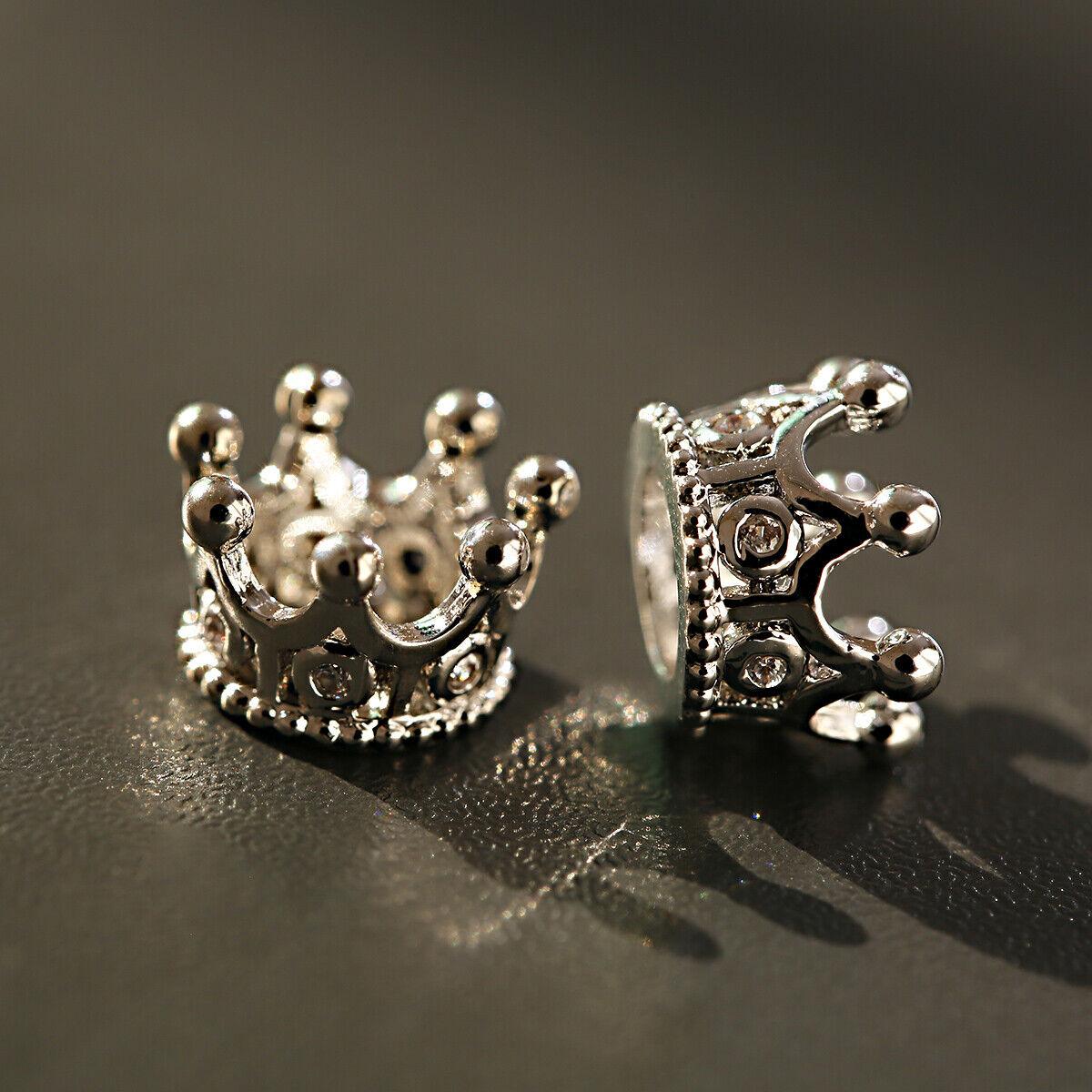 Zircon Gemstones Pave Queen Crown Bracelet Brass Copper Connector Charm Beads 7