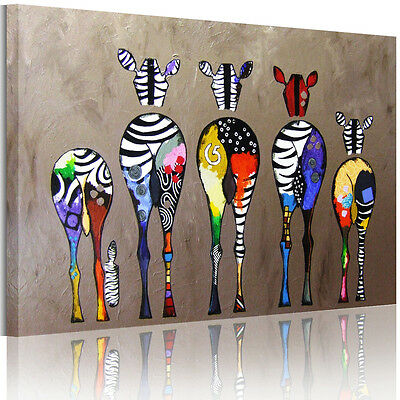 """Abstract """"Multicolored Zebra"""" HD Canvas Prints Wall Art Painting Picture FRAMED 2"""