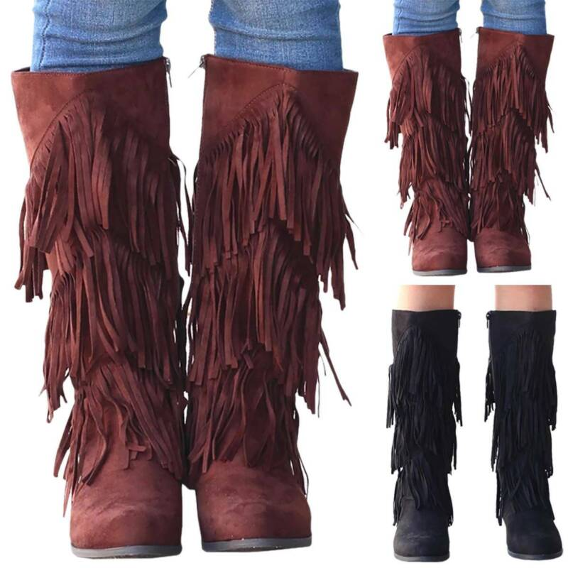 Colors Size 4-9 Womens Suede Tassel Fringe Moccasin Boots Flat Layer Mid Calf