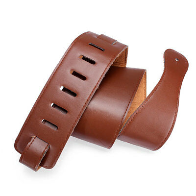 Adjustable Brown Soft Leather Thick Strap Belt for Electric Acoustic Guitar Bass 4