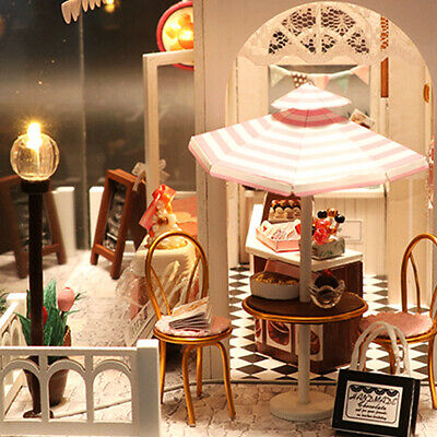 Doll House Wooden Dollhouse Miniature Assembling 3D Puzzle Toy DIY Kit LED Light 10
